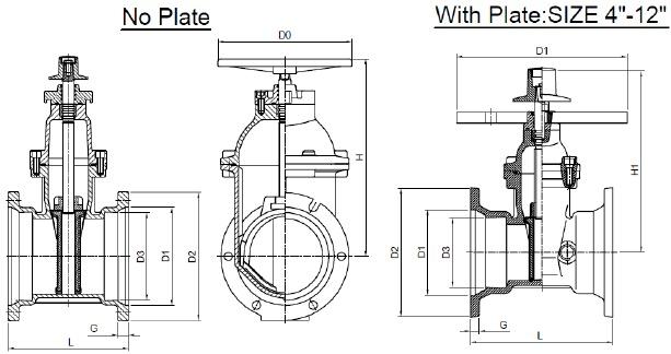 225mr Awwa C515 Ductile Iron Mechanical Joint Valve Open