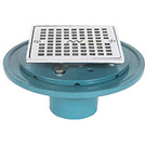 Image of Cast Iron Shower Drain - Heavy Duty w/ Bolt Down Ring and Square Strainer