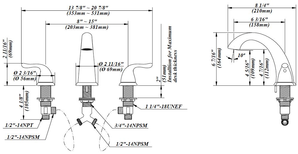 Two Handle Roman Tub Faucet BL-900C